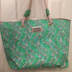 lilly pulitzer alligator print beach bag